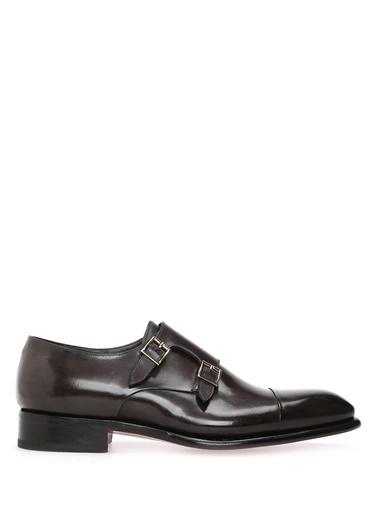 Santoni %100 Deri Çift Tokalı Klasik Ayakkabı Kahve